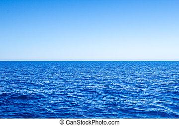 bleu, mer, sky., marine, clair, méditerranéen, ligne horizon
