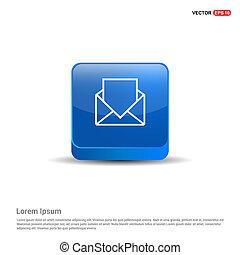 bleu, message, -, bouton, 3d
