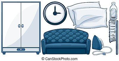 bleu, meubles, couleur, ensemble