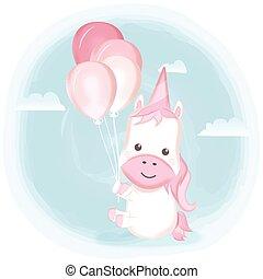 bleu, mignon, aquarelle, balloon, dessin animé, illustration, licorne