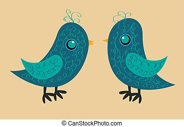 bleu, mignon, corps, modèle, côté, deux oiseaux jaunes, bec, oeil, vue