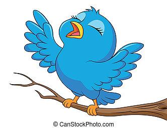 bleu, mignon, oiseau chant, dessin animé