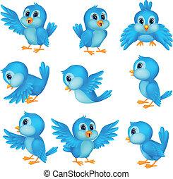 bleu, mignon, oiseau, dessin animé