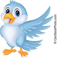 bleu, mignon, oiseau, onduler, dessin animé