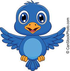 bleu, mignon, oiseau volant, dessin animé