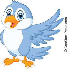 bleu, mignon, onduler, oiseau, dessin animé