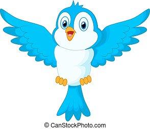 bleu, mignon, voler, dessin animé, oiseau