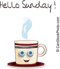 bleu, mignon, yeux, tasse, texte, dessin animé, dimanche, sourire, bonjour