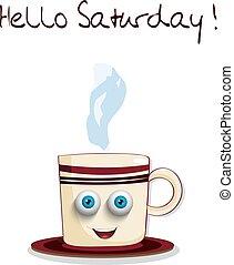 bleu, mignon, yeux, tasse, texte, samedi, sourire, bonjour, dessin animé