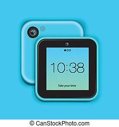 bleu, mobile, fond, tablette, téléphone
