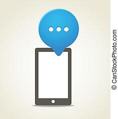 bleu, mobile, moderne, téléphone, parole, nuage