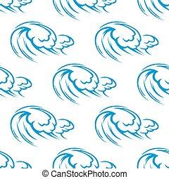 bleu, modèle, océan, seamless, vagues