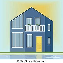 bleu, moderne, house., illustration, vecteur, coucher soleil, architecture, fond, façade