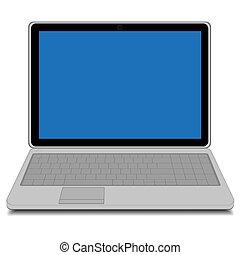 bleu, moderne, ordinateur portable, écran
