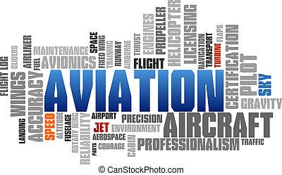 bleu, mot, étiquettes, arbre, vecteur, aviation, bulle, nuage