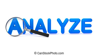 bleu, mot, -, verre., par, analyser, magnifier, 3d