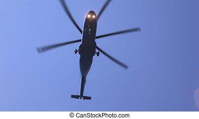 bleu, mouches, ciel, après-midi, au-dessus, hélicoptère, terrestre