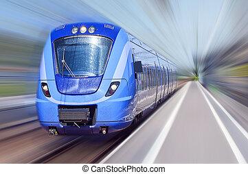 bleu, mouvement, train