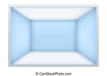 bleu, murs, salle, vide, exemple