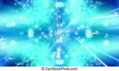 bleu, musique note, particules