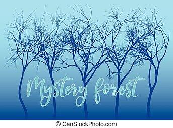 bleu, mystère, forêt, vecteur, arbres