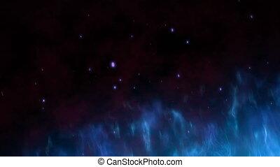 bleu, mystère, indigo, brûlé, sky., étincelles, lumière, résumé, monter, halloween, chaud, particles., grand, brûler, thème, animation, flamme, 4k, fond, nuit, 3d