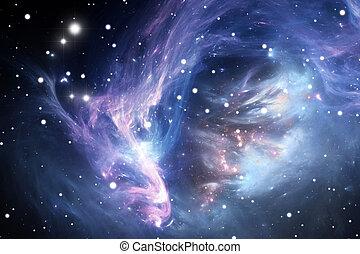bleu, nébuleuse, espace