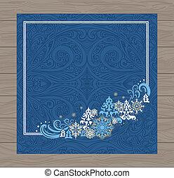 bleu, noël carte