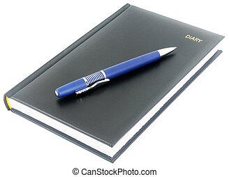 bleu, noir, stylo, agenda
