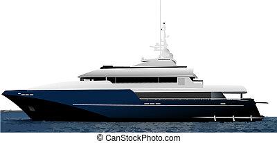 bleu, noir, yacht, océan