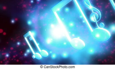 bleu, notes, faire boucle, musique, blanc rouge, animé, toile de fond