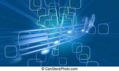bleu, notes, musical