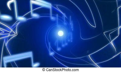 bleu, notes, musical, résumé