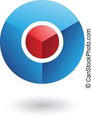bleu, noyau, résumé, cercle, rouges, icône