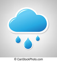 bleu, nuage, étiquette