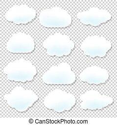 bleu, nuage, fond, icônes