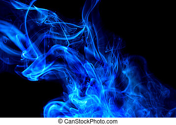 bleu, nuage fumée