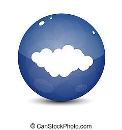 bleu, nuage, icône