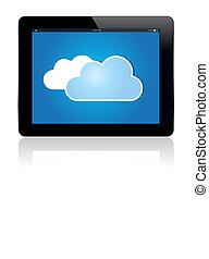 bleu, nuage, tablette