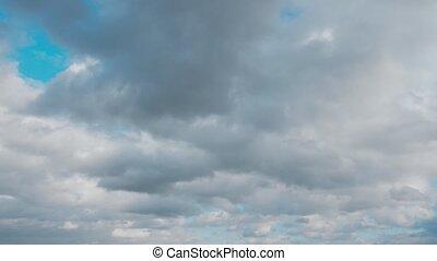 bleu, nuages, ciel blanc