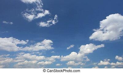 bleu, nuages, ciel, mov, lot, blanc