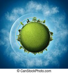 bleu, nuages, eco, résumé, arrière-plans, vert, earth., sur, cieux