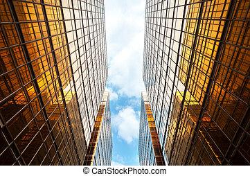 bleu, nuages, gratte-ciel, ciel, contemporain, perspective, symétrique, blanc, haut