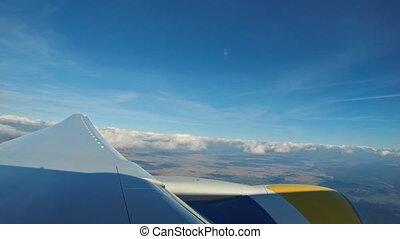 bleu, nuages, métrage, ciel, clouds., fenêtre, au-dessus, aérien, blanc, avion, vue