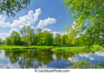 bleu, nuages, narew, printemps, ciel, paysage rivière
