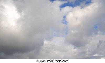 bleu, nuages, orageux, virages, ciel, sombre