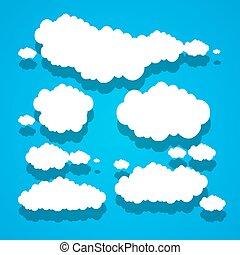 bleu, nuages, papier, ciel, fond