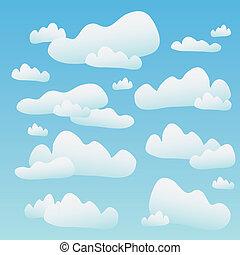 bleu, nuages, pelucheux