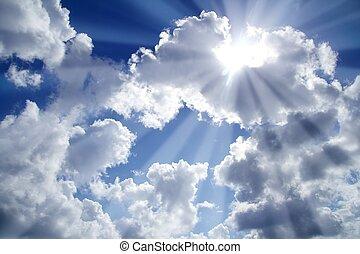 bleu, nuages, rayons, lumière ciel, blanc