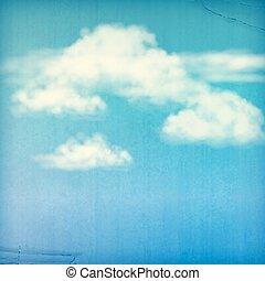 bleu, nuages, vendange, ciel, fond, blanc